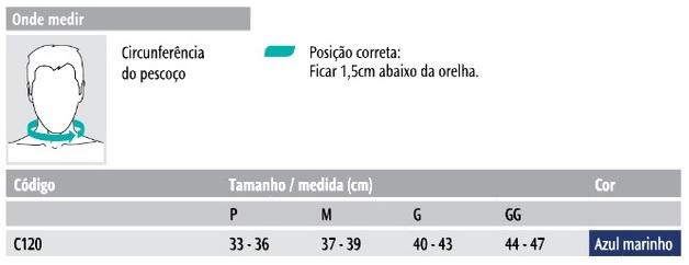 Tabela de Medida Colar de Espuma Noturno Chantal