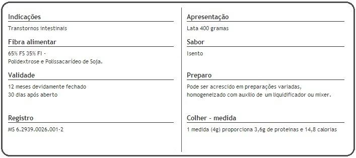 Composicao Nutricional Enter Fiber 400g Prodiet